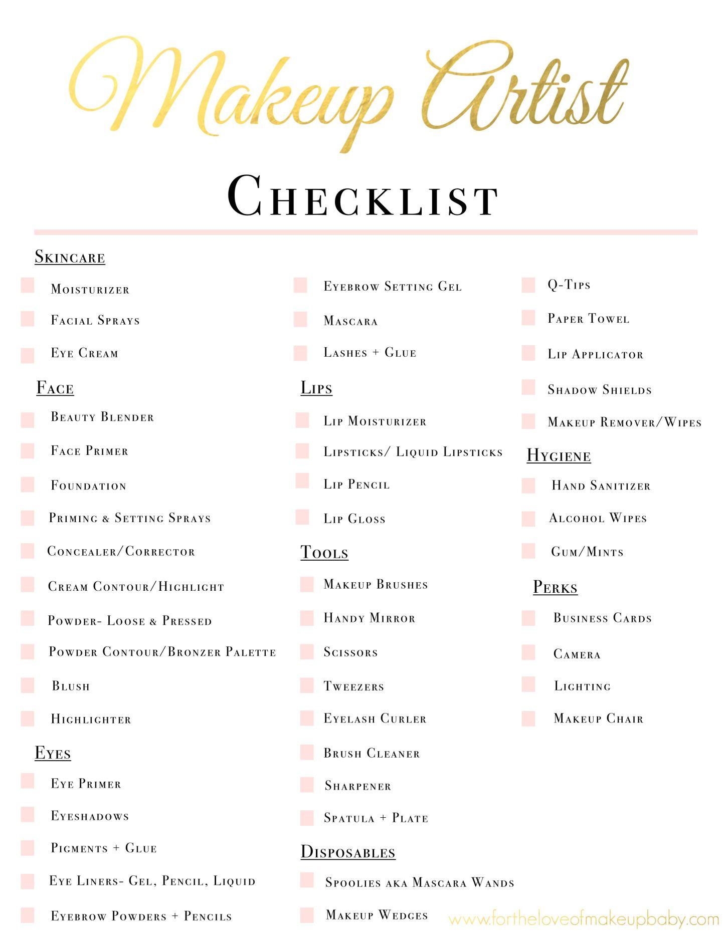 mua checklist Makeup artist kit, Makeup artist tips