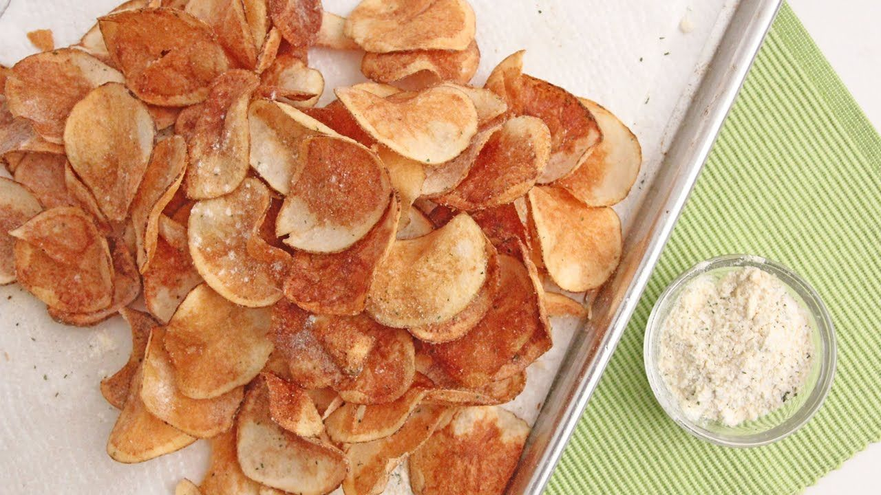 Homemade Sour Cream Onion Chips Laura Vitale Laura In The Kitchen Snacks Sour Cream And Onion Chips Recipe Potato Chips