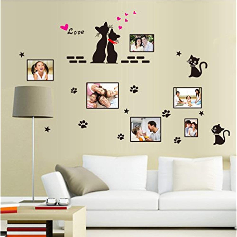Cat Wall Decals Wall Frame Cute Paw Love Wall Stickers Stars Vinyl Peel Homedcor Wall Decor Stickers Nursery Wall Stickers Wall Stickers Home Decor