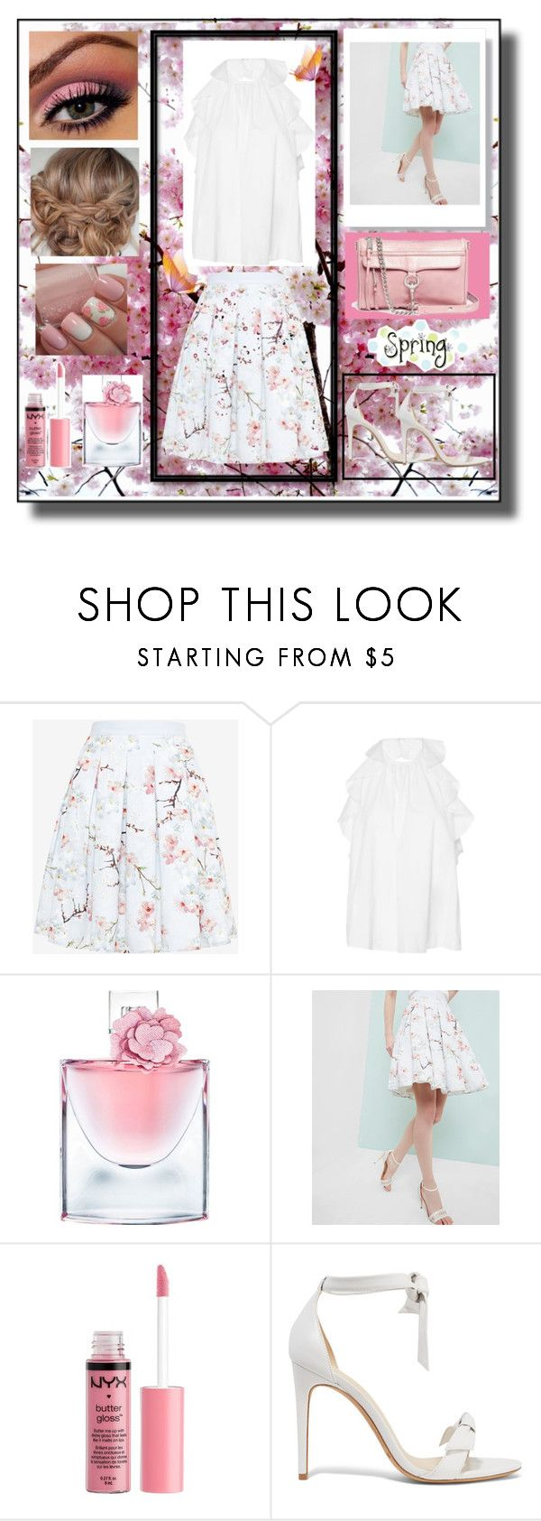 """""""Spring!"""" by snowflakeunique ❤ liked on Polyvore featuring Ted Baker, Ulla Johnson, Lancôme, Charlotte Russe, Alexandre Birman and Rebecca Minkoff"""