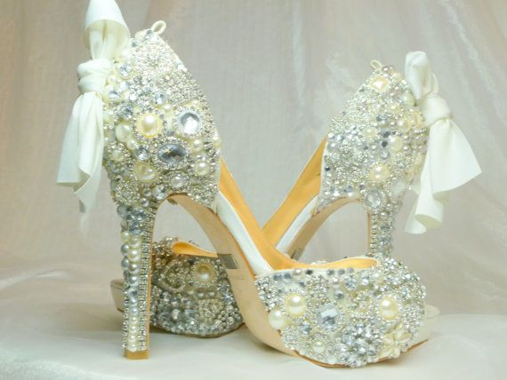 Cinderella's Wish peep toes crystal glass and by tlccreationsuk, $610.00 Artistry in Shoes:)