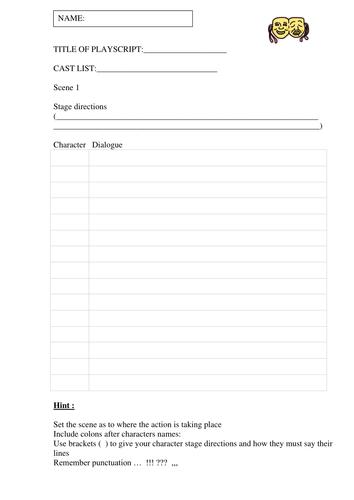 A playscript template  | in my WRITE mind | Teaching