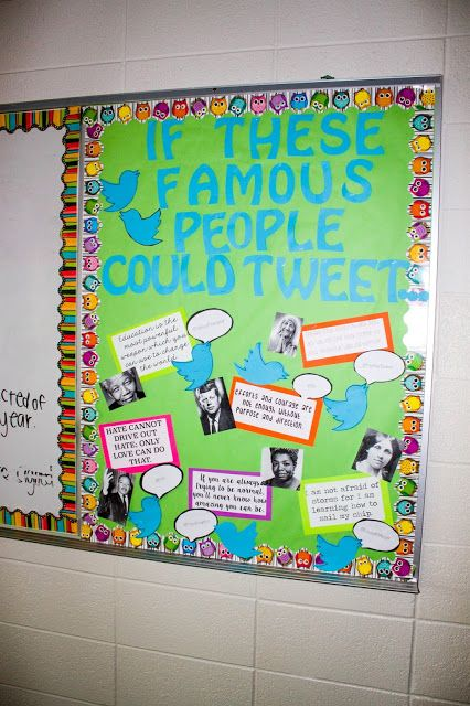 Classroom Display Design ~ Twitter bulletin board history secondary