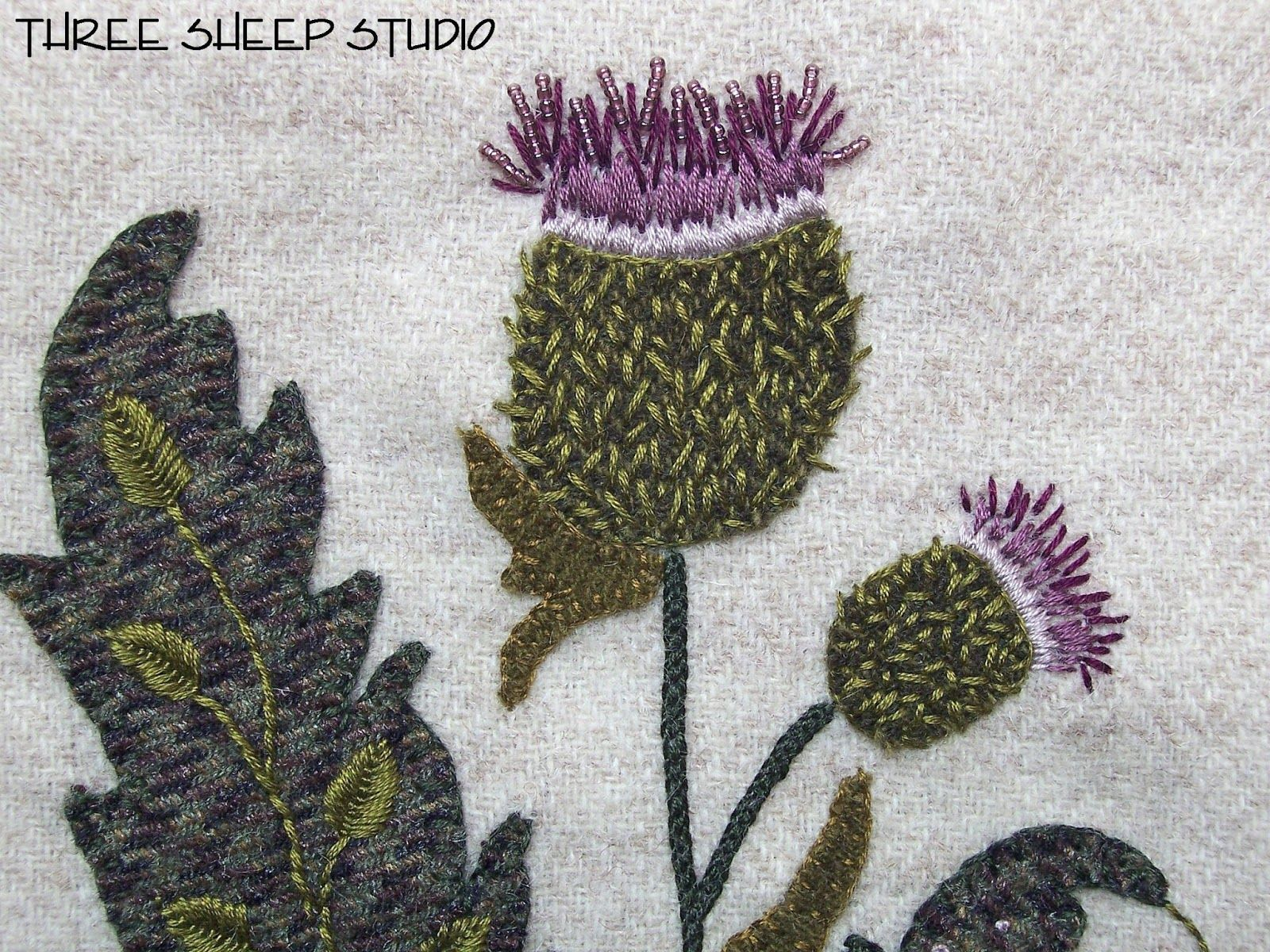 Jacobean flower from three sheep studio feltwool appliqué