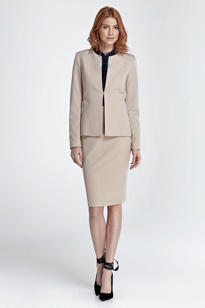 ensemble tailleur beige jupe et veste femme costume chic nife sp33 z22 tenues compl tes. Black Bedroom Furniture Sets. Home Design Ideas
