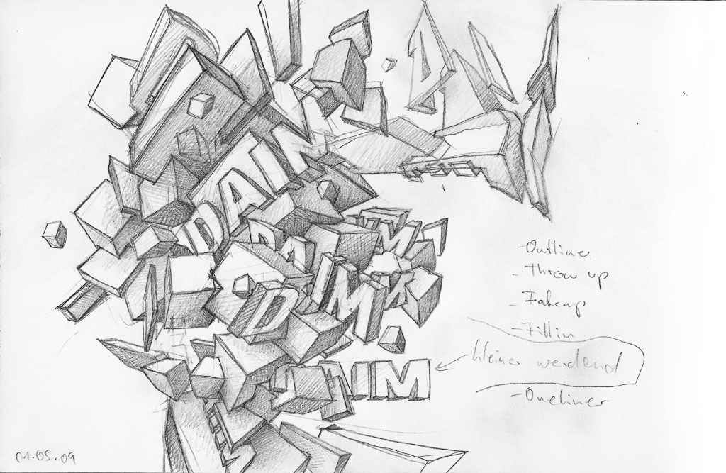 3D Drawings to Sketch Graffiti Daim Sketches black and