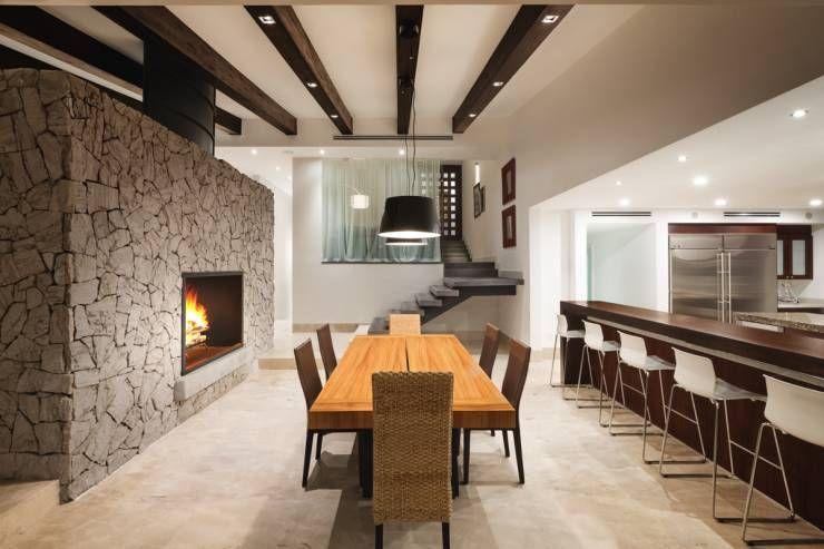 modernas ideas con piedra para las paredes interiores