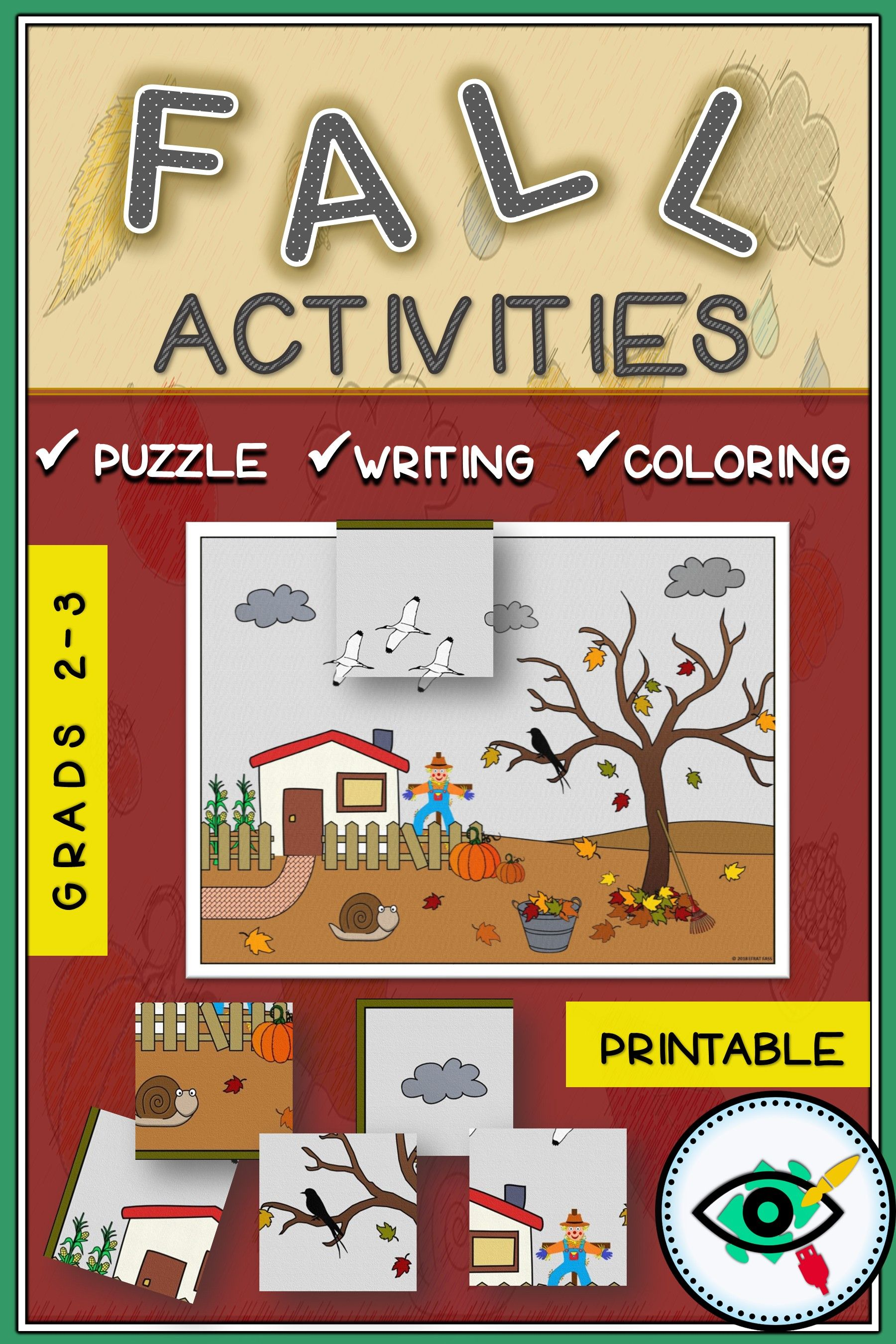 Fall Visual Activity Coloring And Writing Printable