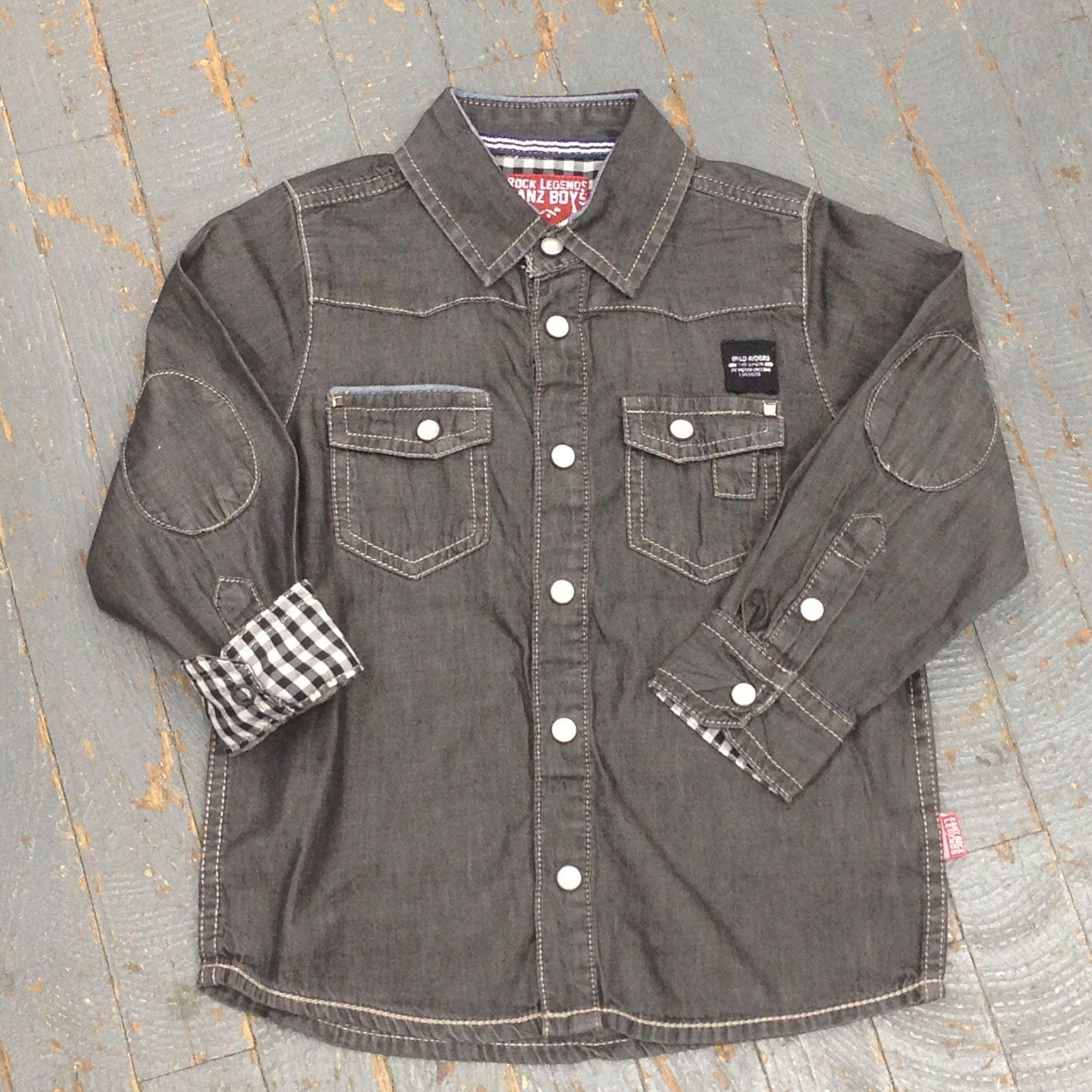 Kanz Junior Boys Rock Legend Biker Style Long Sleeve Button Up Collared Black Denim Shirt