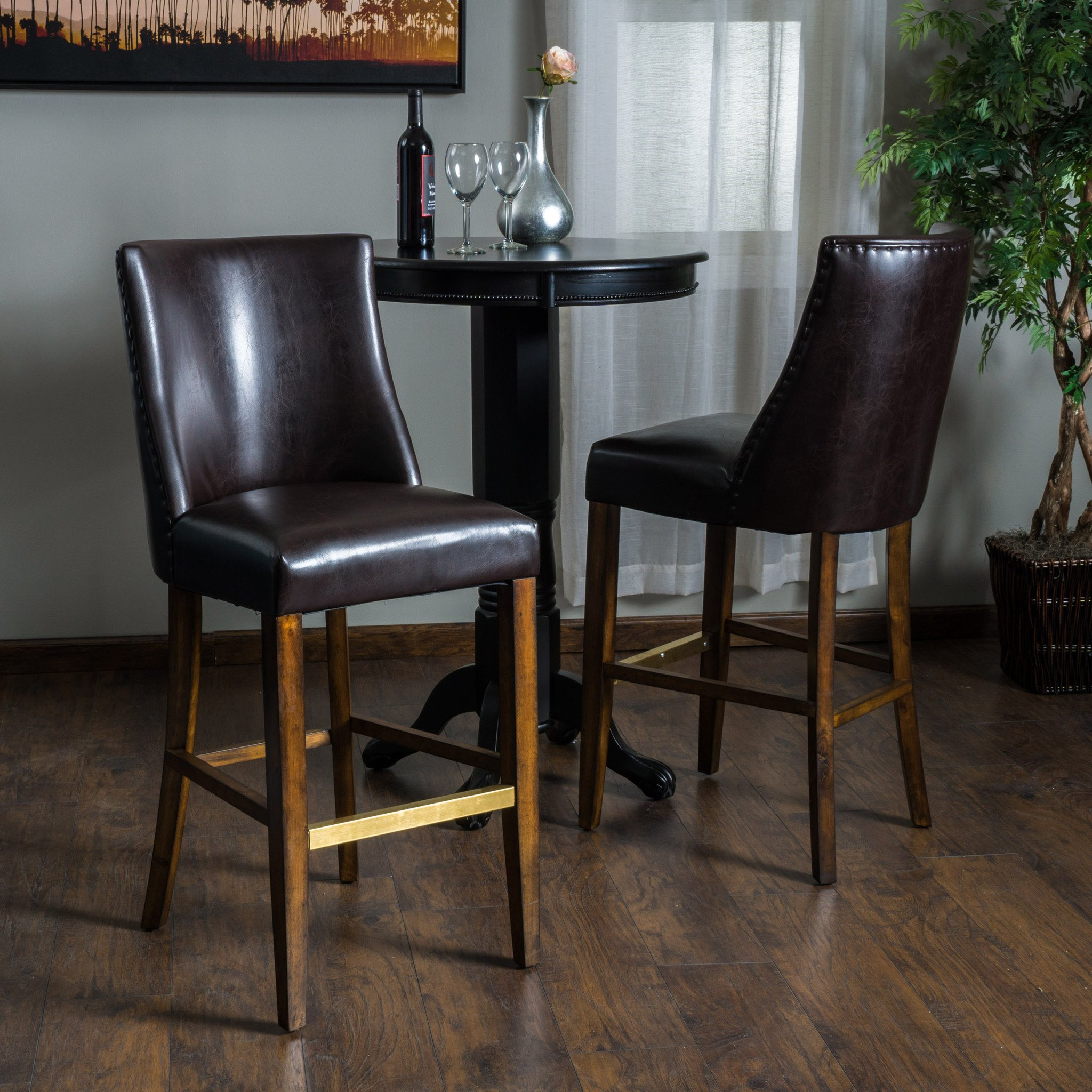 Rydel brown leather bar stools set of the rydel brown leather