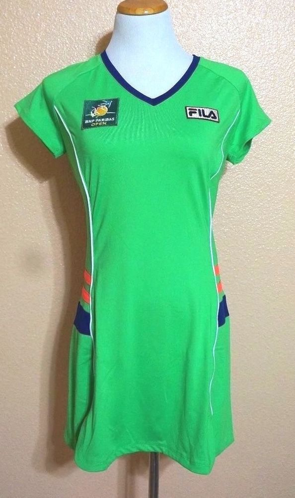 28e091209 NWOT Ball Girl Tennis Dress Fila BNP Paribas Open Kelly Green Multi V-Neck  US XS  Fila  Tennis  Open  Ballgirl  Dress