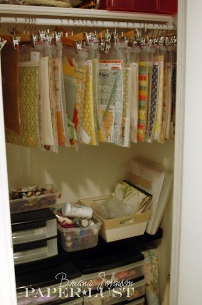 """Craft Paper Storage: Special order 2 gallon ziptop bags, 1 gallon bags won't hold 12x12"""" scrapbook paper. The best price I found was for 13x15"""" ziptop bags on Amazon in a 100 pack for about $16. Get packs of pants hangers at your local big box store."""