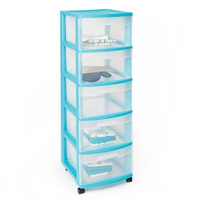 5 Drawer Plastic Storage Carts At