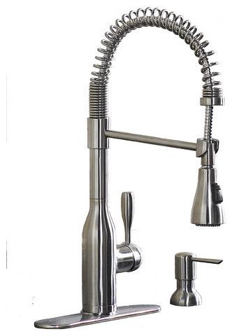 AquaSource Stainless Steel 1-Handle Pull-Down Kitchen Faucet ...