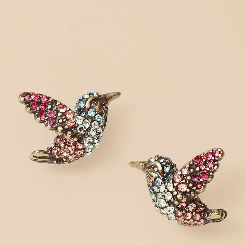 chubby bird earrings Fossil small