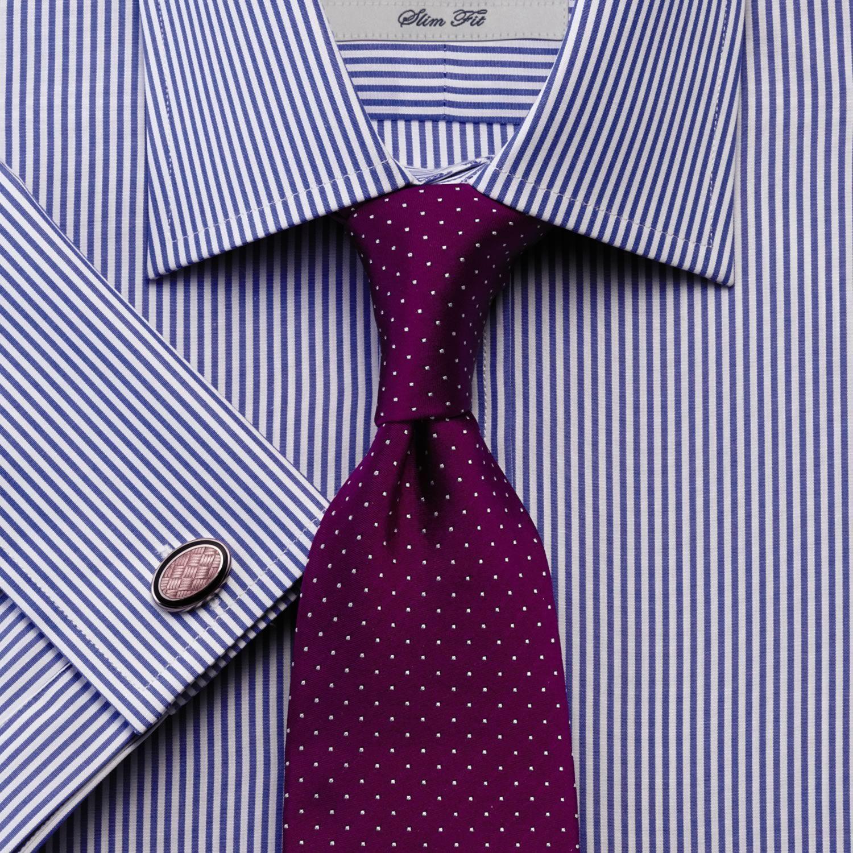 Slim tie - Pale, dusty purple with tonal chevron pattern Notch