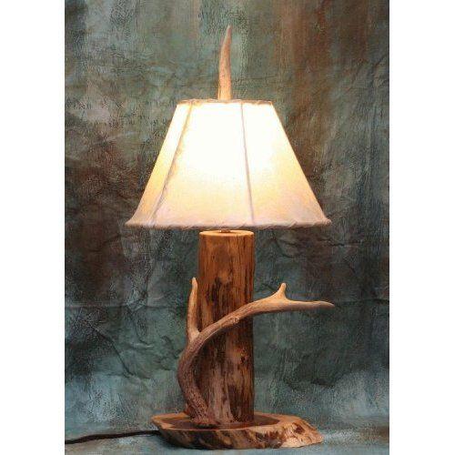 Red Cedar Log and Antler Nightstand Lamp: Home Improvement ...