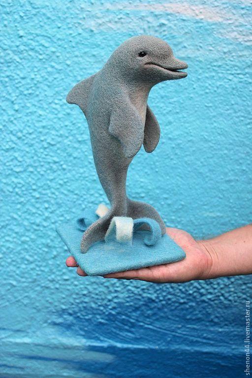Дельфин - серый,валяная игрушка,войлочная игрушка,дельфин,Сухое валяние