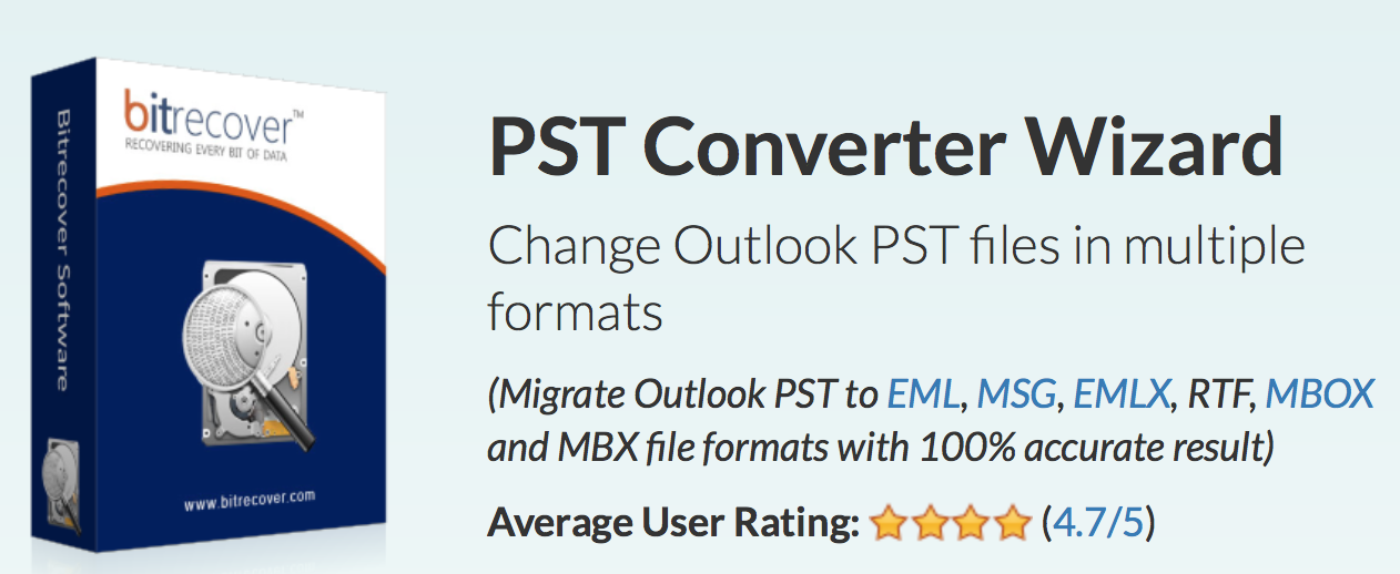 BitRecover Migrate Outlook PST to EML, MSG, EMLX, RTF