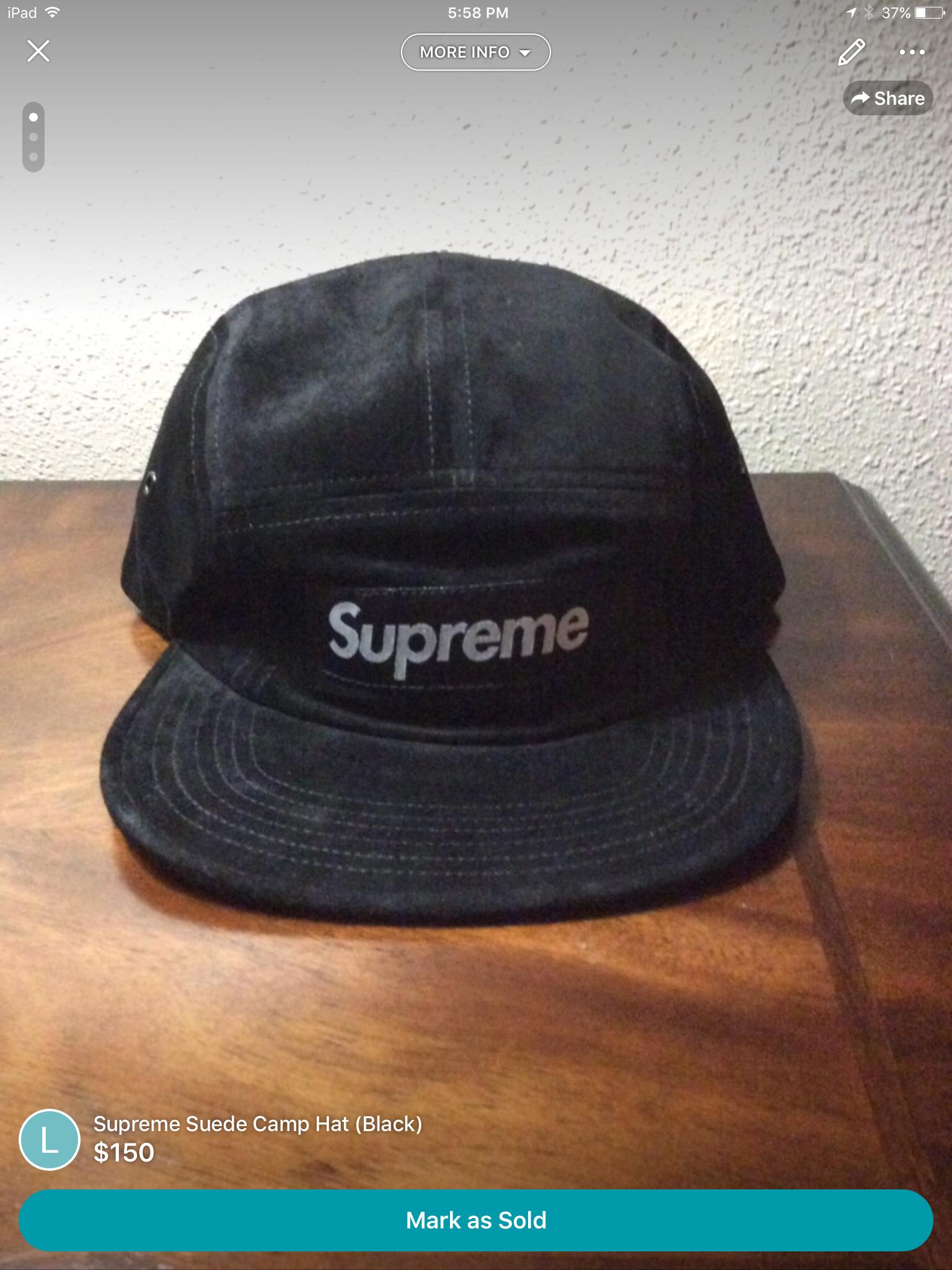 828612328cb9e Supreme Suede Camp Hat (Black)