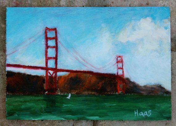SOLD, Golden Gate Bridge, San Francisco, Original Oil, Painting, Landscape, Beach Home Decor, honeyscolors