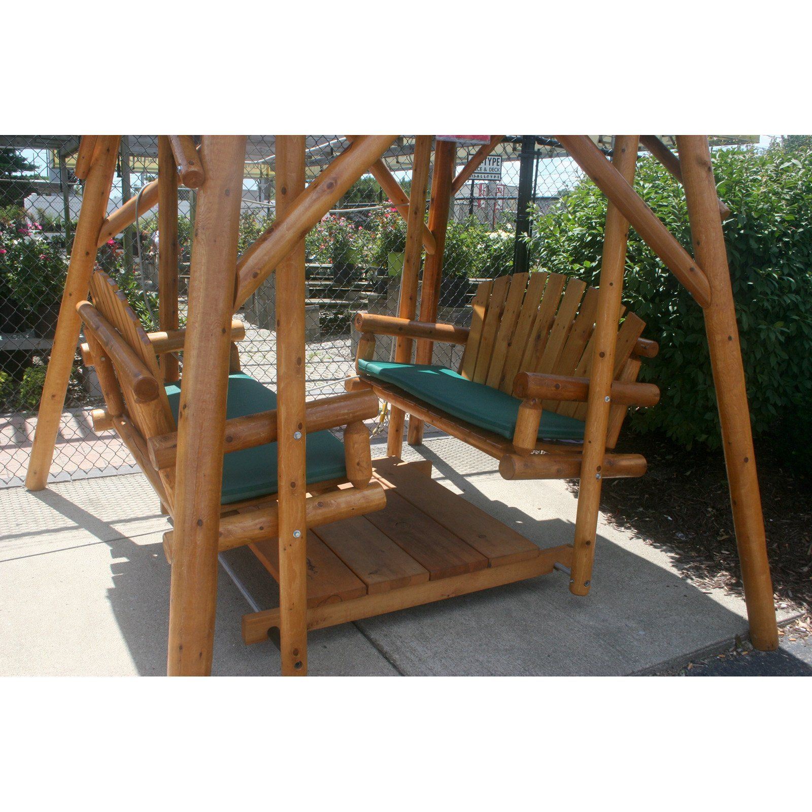 Adirondack double glider swing and frame canopy 359 99 hickory furniture