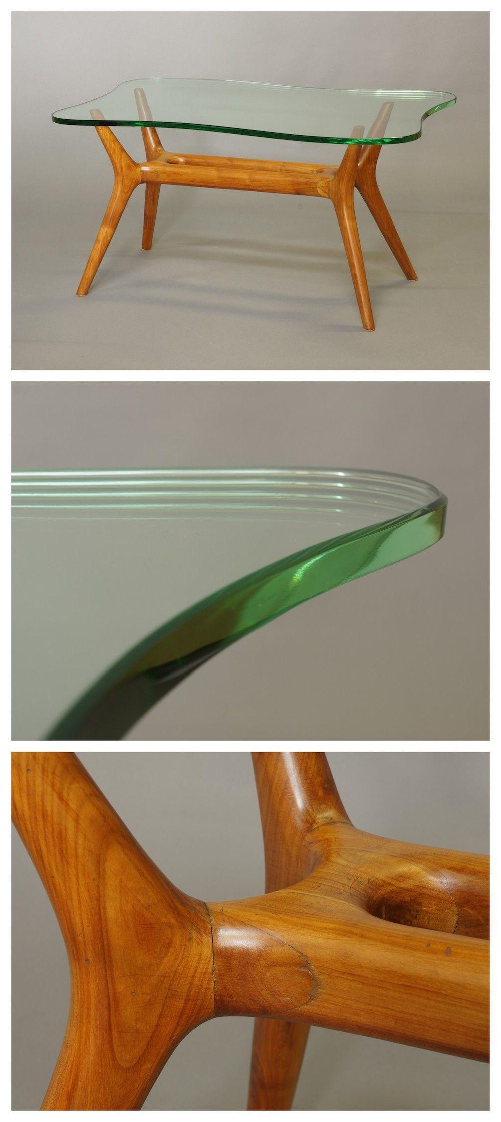 Italian Biomorphic Shape Gl Top Coffee Table C 1950