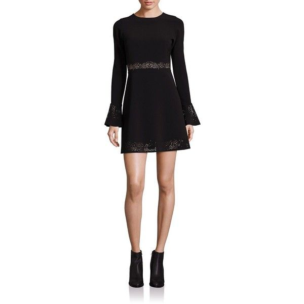 Parker Sonoma Lasercut Fit & Flare Dress (£250) ❤ liked on Polyvore featuring dresses, apparel & accessories, black, long bell sleeve dress, fit and flare dress, zipper back dress, fit flare dress and zip back dress
