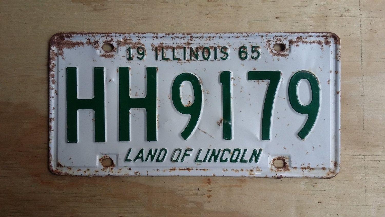 Vintage 1965 Illinois License Plate, 1965 license plate