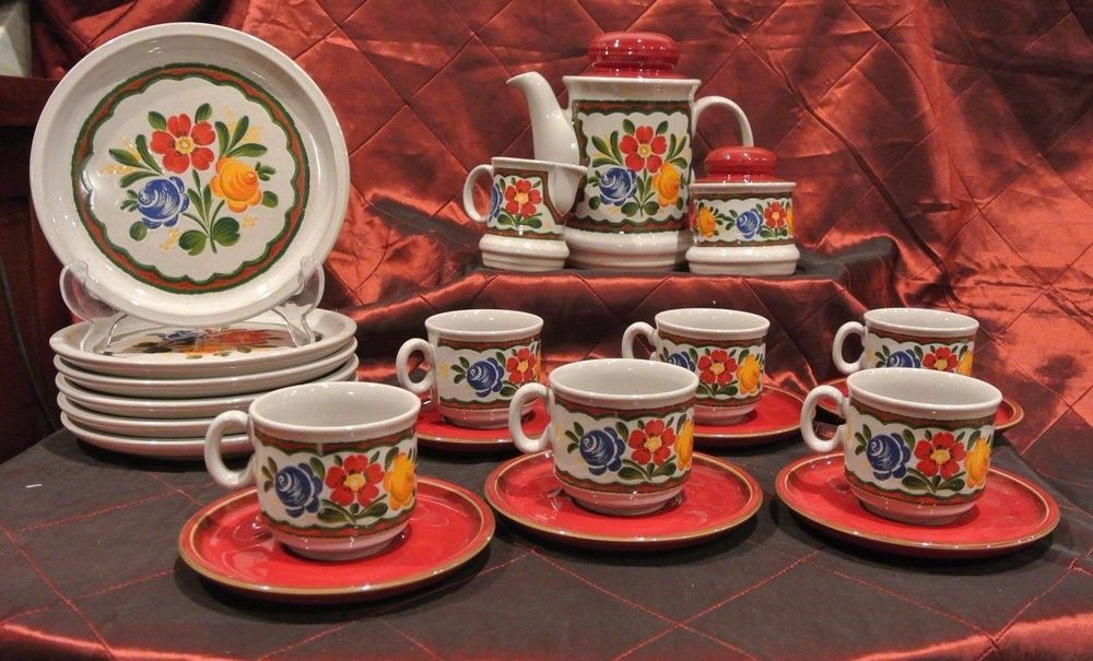 Beautiful set of 6 red yellow floral color stoneware