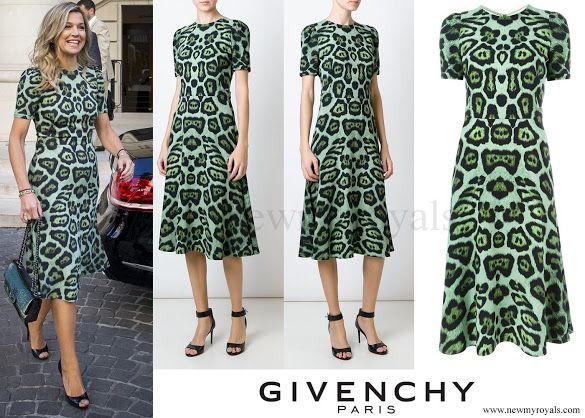 Queen Maxima in Buenos Aires wearing a GIVENCHY Leopard Print A-line Dress