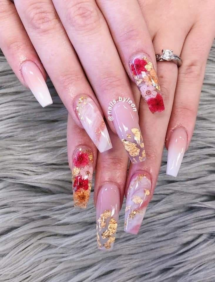 Dried Flowers Encapsulated Long Nail Designs Water Longnails Dried Flower Designs Dried Encaps In 2020 Long Acrylic Nails Long Nail Designs Coffin Nails Designs