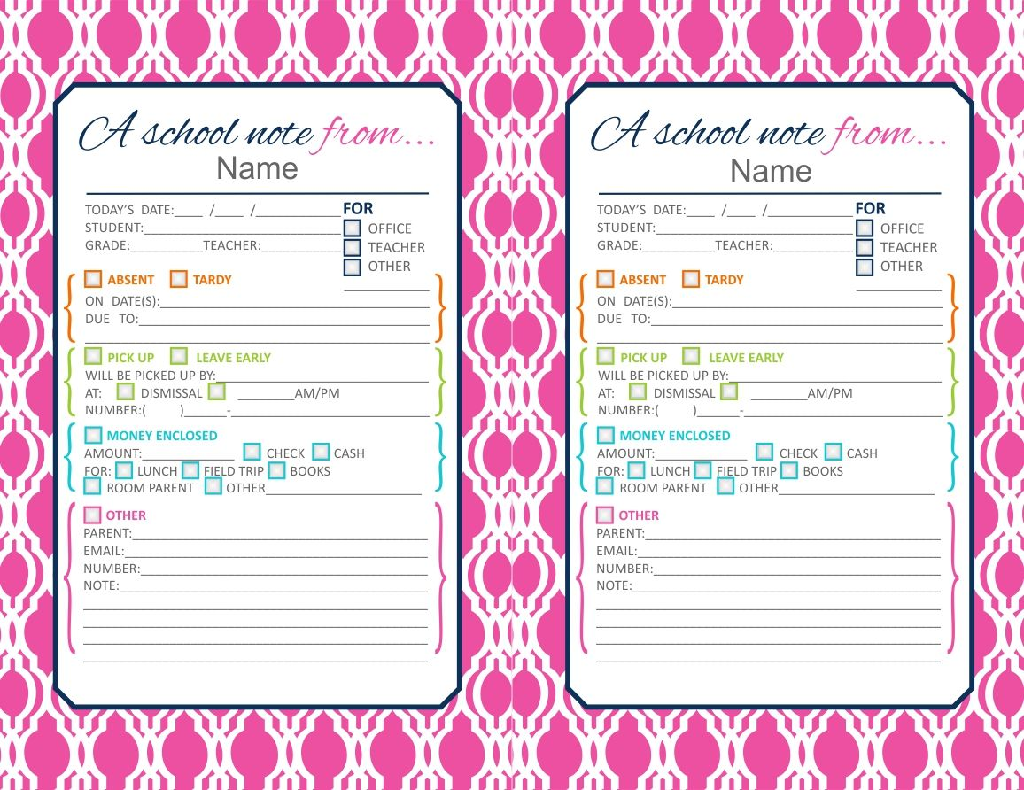 Pink Cute Printable School Notes If Your Little On Is Going To Be