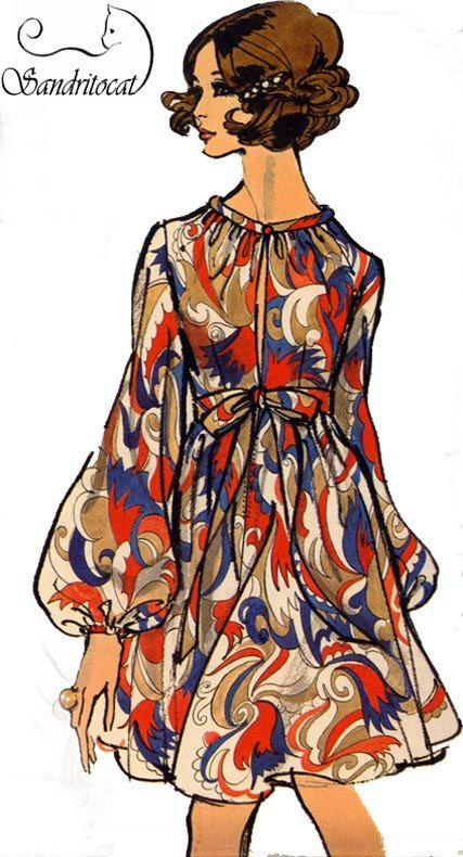 eb74afe48 década de 1960 vintage coser patrones Vogue 7675 MOD Imperio vestido talla  14 Busto 36