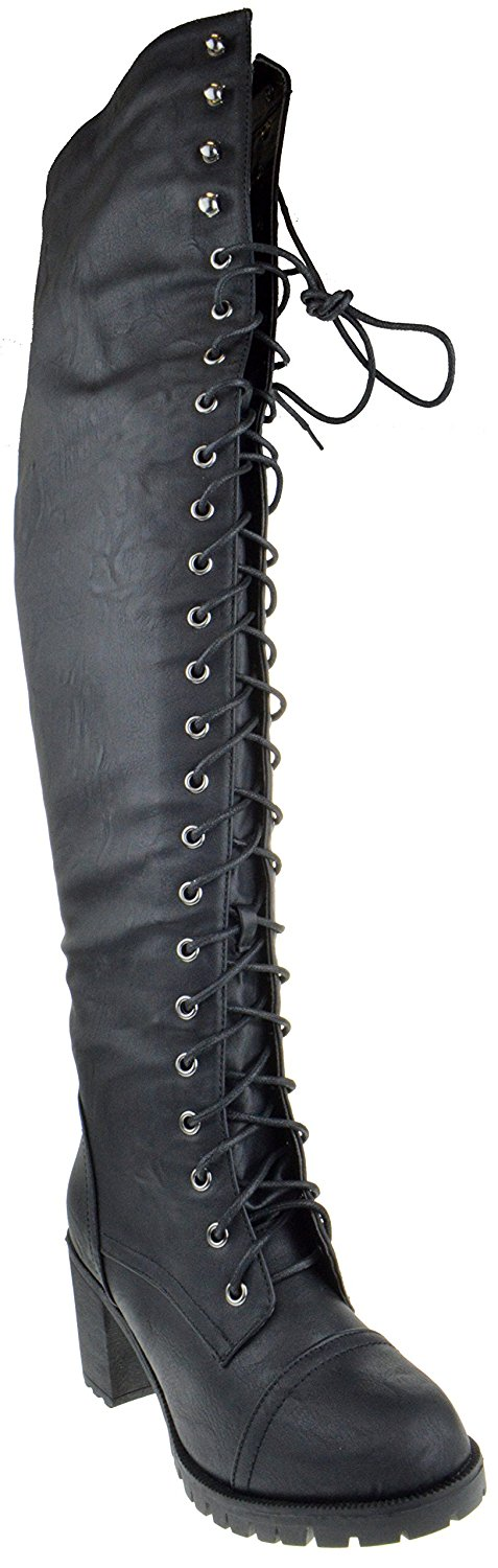 ae9b1197119 Illusion 01 OK Womens Thigh High Lace UP Chunk Heel Combat Boots   This is  an Amazon Affiliate link. You can get more details by clicking on the image.