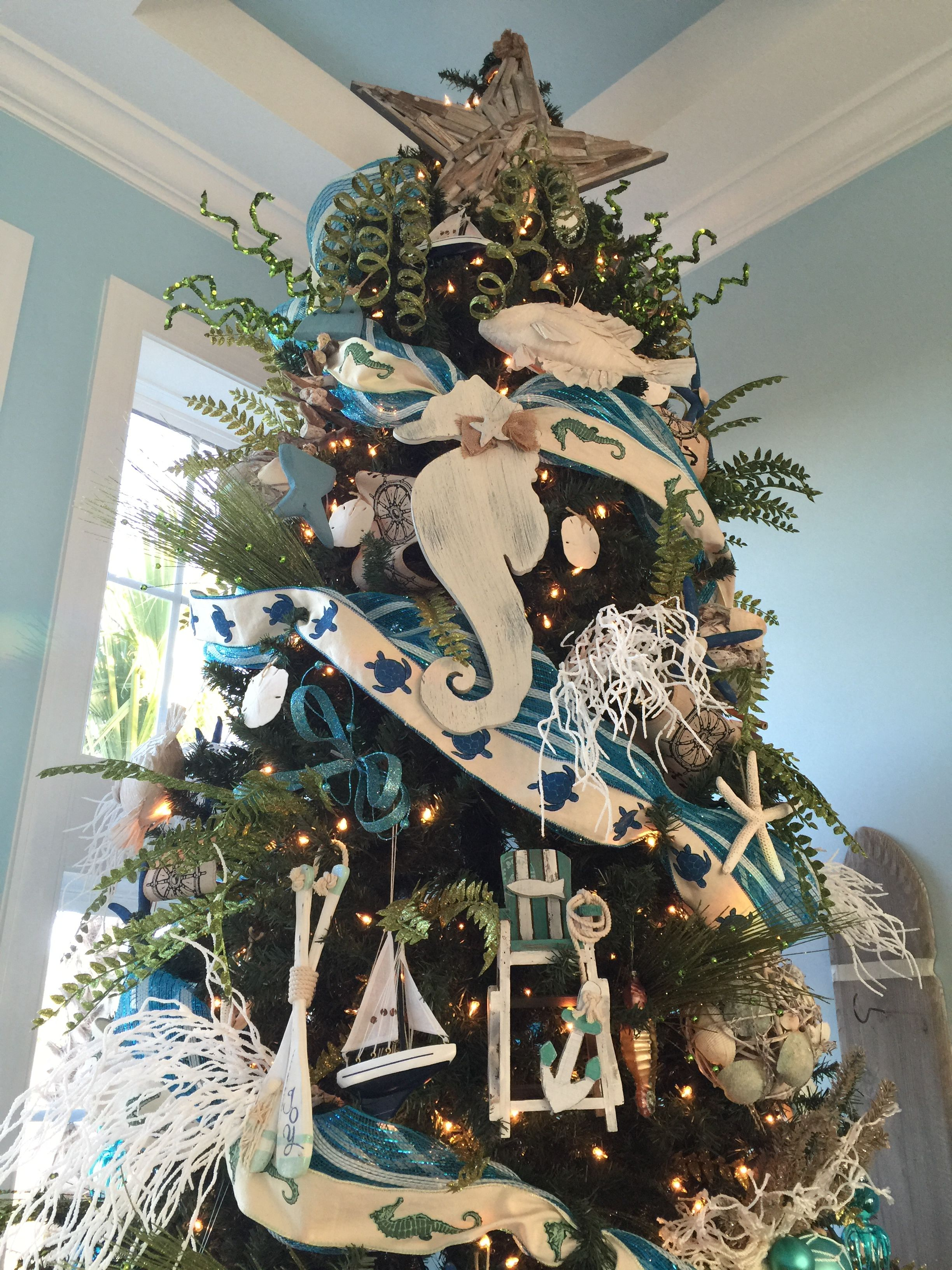 Beach themed Christmas tree Myrtle Beach SC Decorated by Lorraine