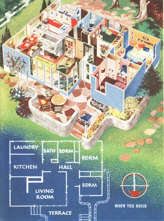 Mid Century House Plan 1950s House Drawings Floor Plan Vintage House  Interior