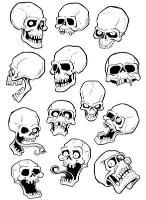 Skull Outline Tattoo Flash Art