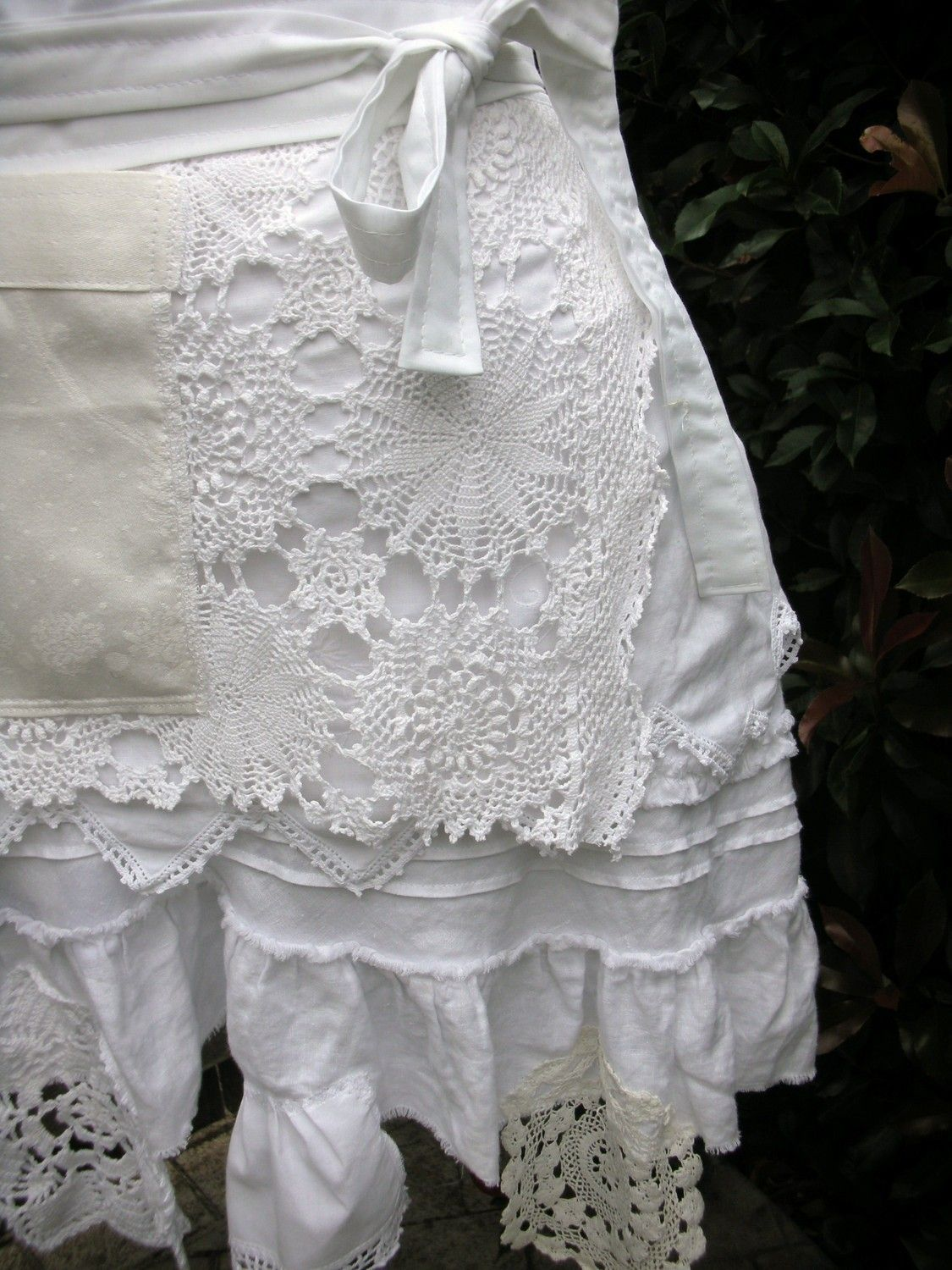 White half apron ruffle - Aprons Lace Aprons Handmade Half Aprons Shabby By Anniesattic 44 95