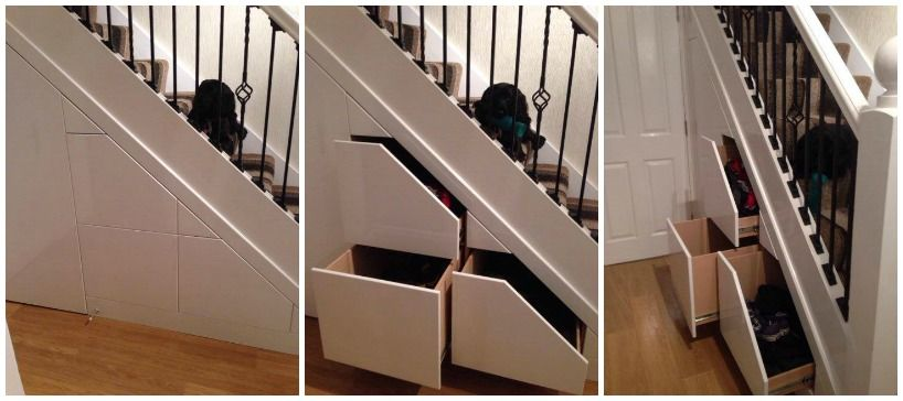 Cool under stair storage solution (also can be done in the eaves of the  loft)