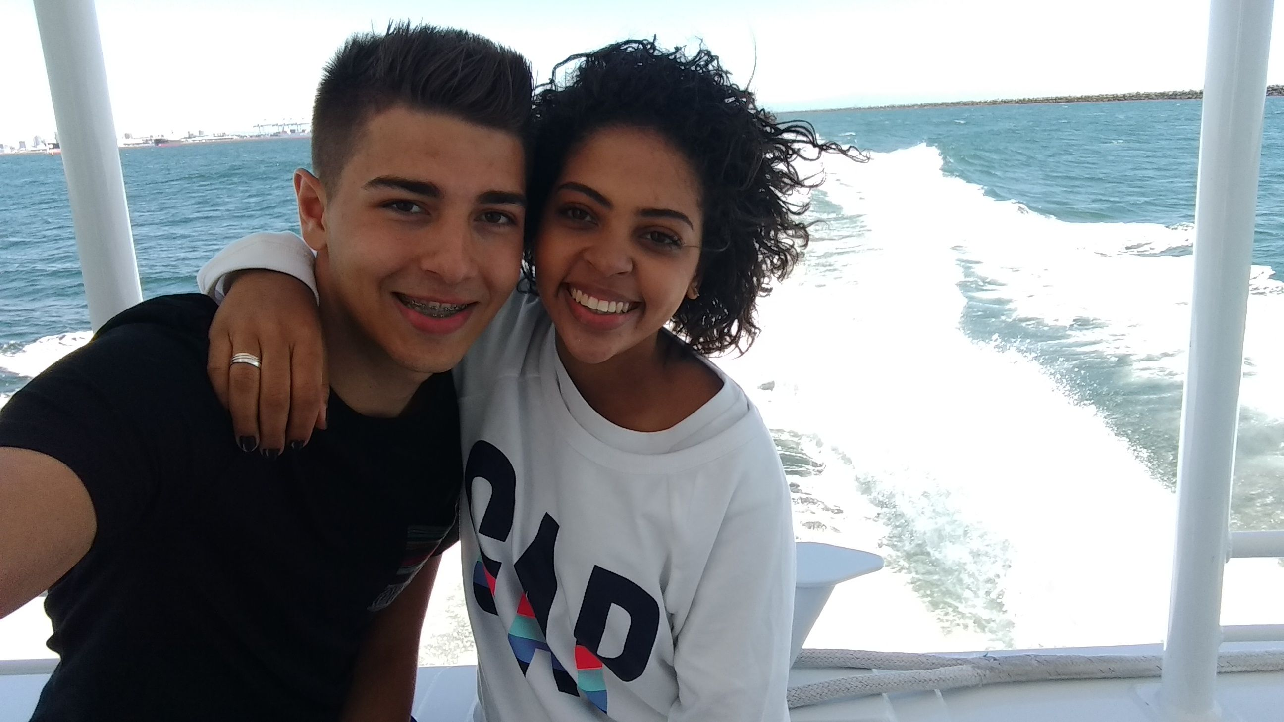 Eles no barco do Whale Watching