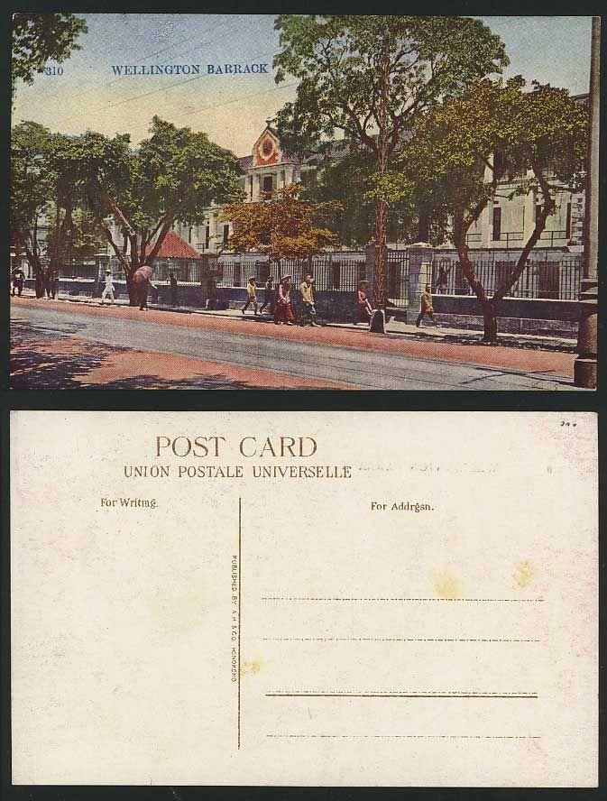 Wellington Barracks, Street f, Hong Kong China Old Postcard.