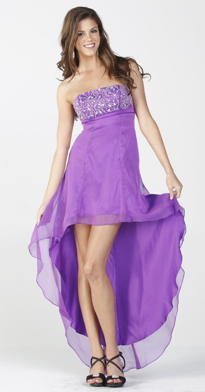 On Special Limited Stock 2 Tone Chiffon Purple High Low Formal