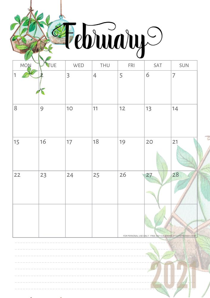 2020 2021 Calendar Free Printable Plants Theme Cute Freebies For You In 2020 Free Printables 2021 Calendar Free Printable Calendar