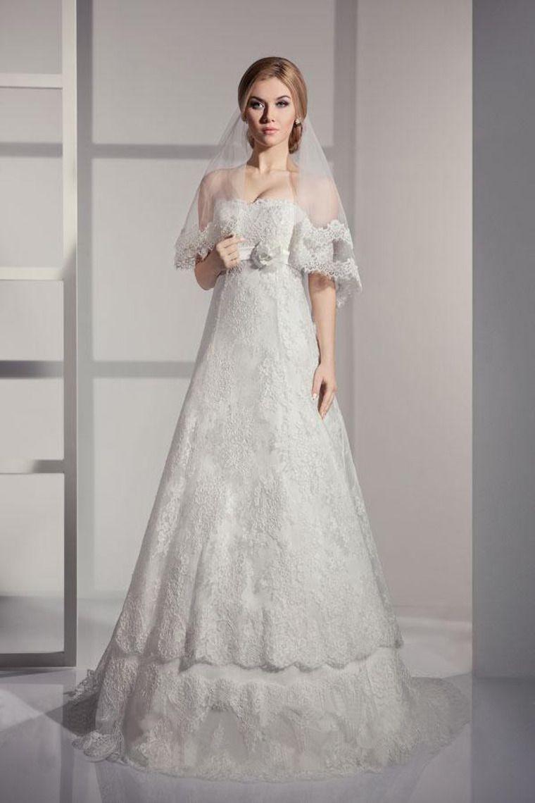 strapless empire waist a line wedding dress lace court train
