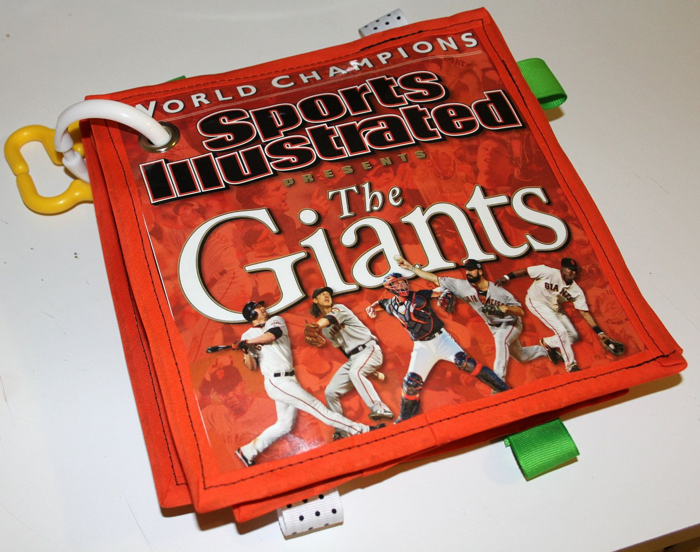 Personalized Baby Newspaper or Magazine (Sports, Baseball, MLB, San Francisco, Giants, SF Giants): crinkle taggie. $25.00, via Etsy.