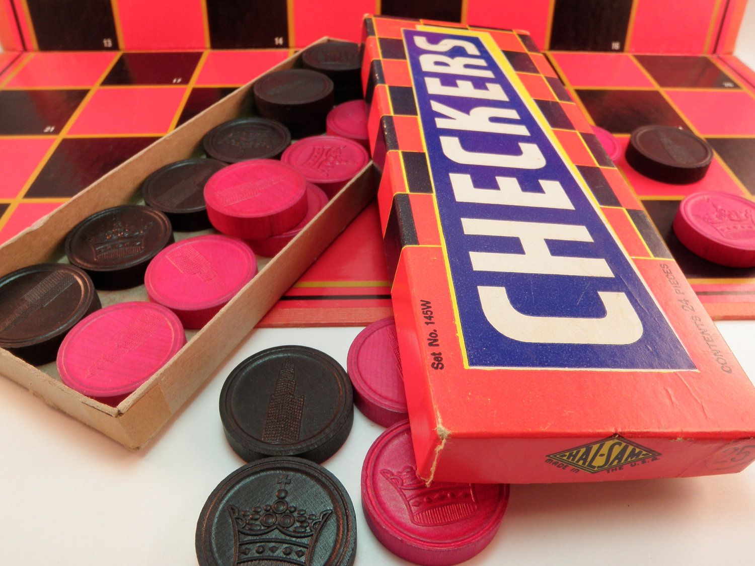 Vintage Wooden Checkers & Board Game Milton by ...