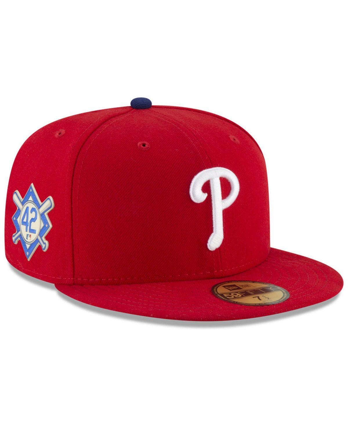 New Era Philadelphia Phillies Jackie Robinson Day 59fifty Fitted Cap Red Jackie Robinson Day Fitted Hats Philadelphia Phillies