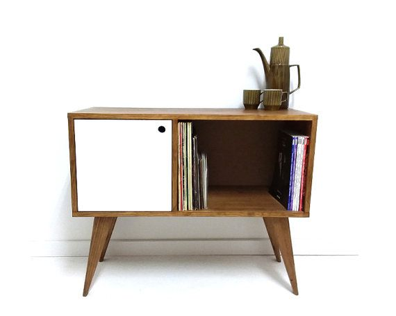 vinyl record storage mitte jahrhundert moderne sideboard media konsole rekord schrank - Mitte Des Jahrhunderts Moderner Couchtisch