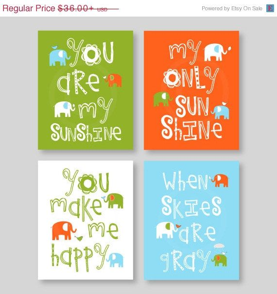 Nursery art you are my sunshine boy elephant nursey wall decor baby shower gift green orange aqua caden lane colors yassisplace
